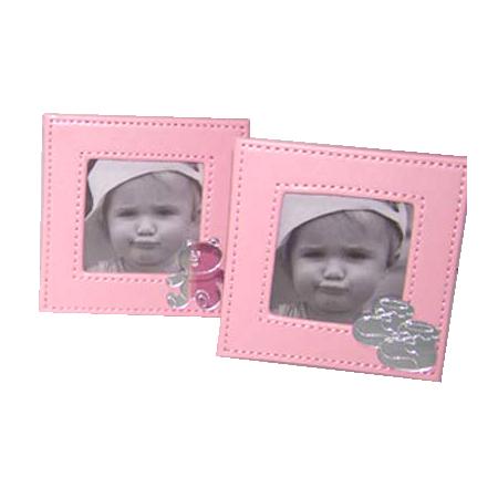 Marco de fotos simil piel, color rosa. Recuerdo para bautizo