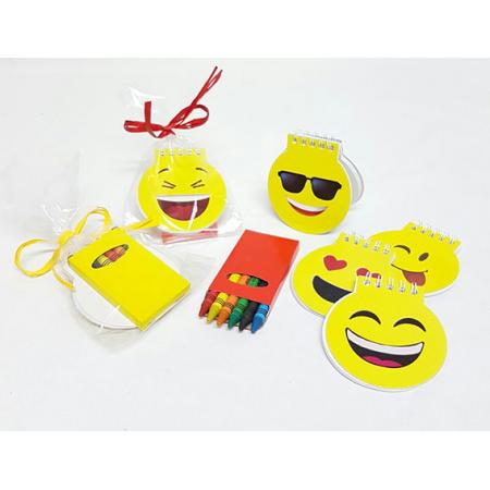 Libretas emoticonos en bolsa con cajita ceras y tarjeta personalizada