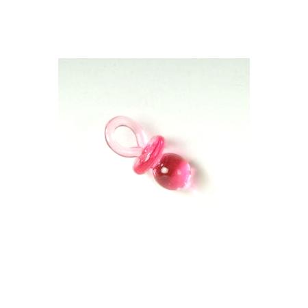 Chupete rosa de 2,5 cm. Ideal para la decoración de los detalles de bautizo.