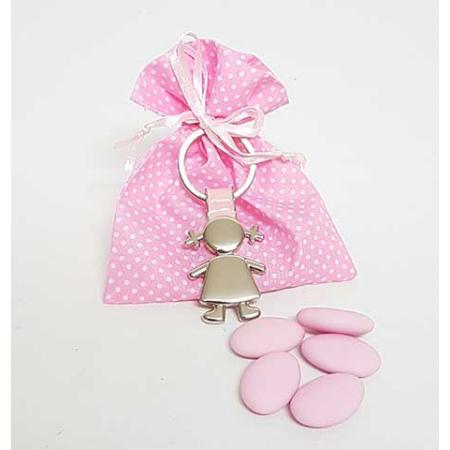 Llavero en metal silueta niña, en bolsa rosa con topos y peladillas