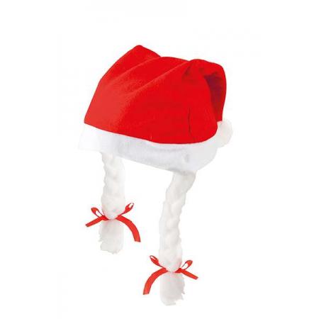 Gorro de Navidad con trenzas. Gorro infantil.