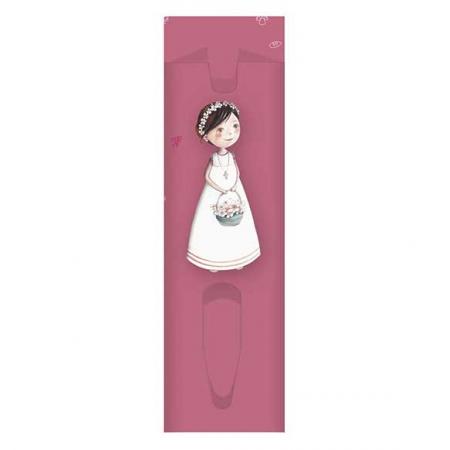 Funda para bolígrafo niña Primera Comunión con cesta de flores.