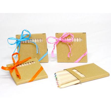 Caja con 12 lápices madera decorada con rafia y tarjeta personalizada