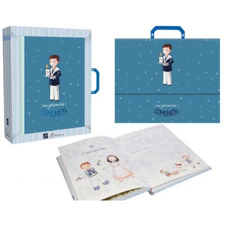 Libro de firmas con maletín para Comunión, niño con Cirio