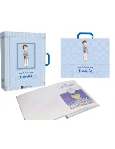 Libro de firmas Comunión niño con maletín niño con rosario