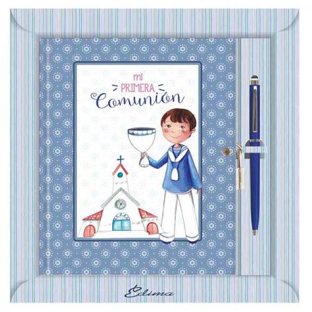 Diario Mi Primera Comunión, niño con cáliz. Incluye bolígrafo touch