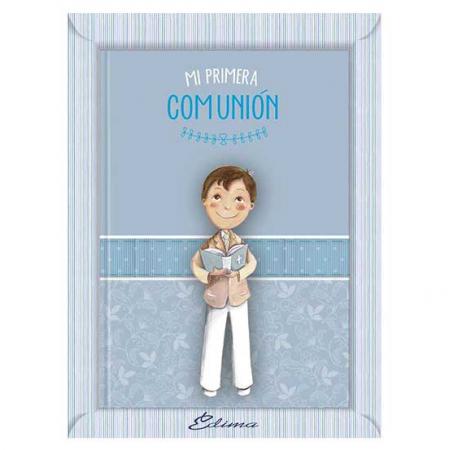 Misal con oraciones para comunión, niño con biblia