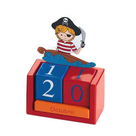 Calendario perpétuo pirata en madera