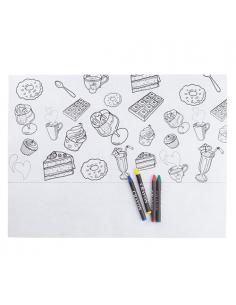 Mantel de Non Woven con dibujos infantiles de alimentos para colorear