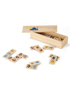 Domino infantil animalitos en madera