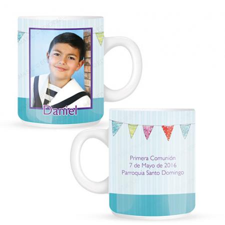 Taza o mug niño comunión banderines para personalizar con foto