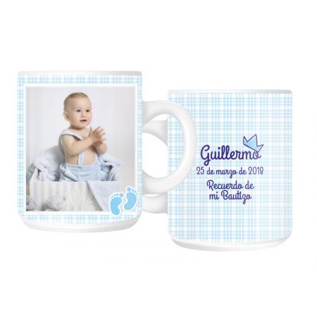 Taza personalizada por las dos caras para bautizo, color principal azul