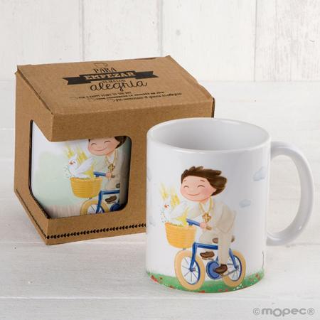 Taza mug personalizada, nombre y fecha evento niño en bici.