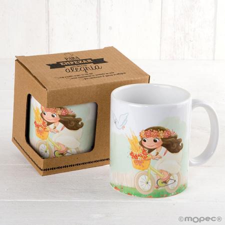 Taza mug personalizada, nombre y fecha evento niña en bici.