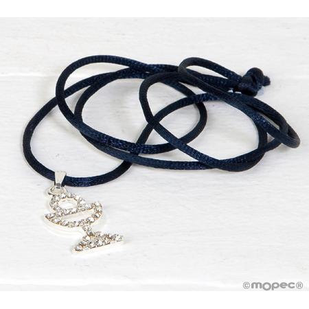 Colgante cáliz strass con cordón azul marino