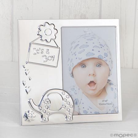"""Marco de fotos aluminio con cartel """"It's a Boy"""", recuerdos de bautizo"""