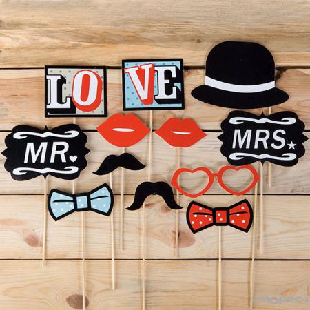 Set palitos para photocall boda vintage