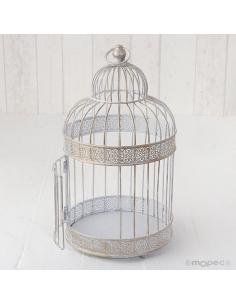 Jaula en metal blanco envejecido para decorar eventos