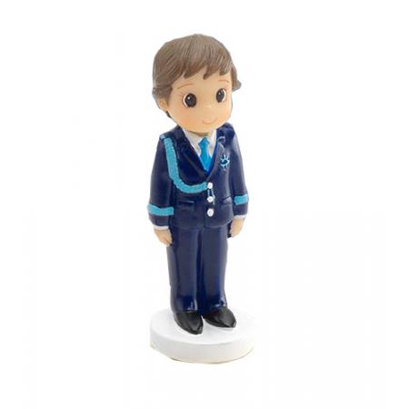 Figurita niño Primera Comunión vestido con traje azul, corbata y galones en azulón.