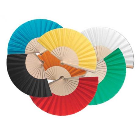 Abanicos con varillas de madera, colores variados