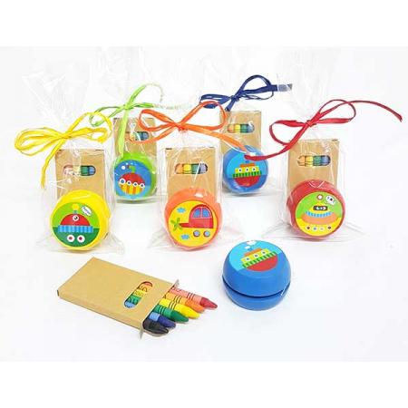 Yo-yo madera, con ceras y presentado en bolsa y con tarjeta personalizada