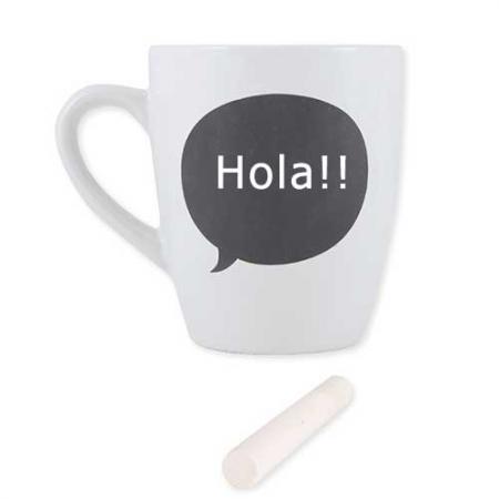 Taza para café con bocadillo cómic en pizarra incluye tiza