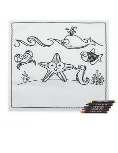 Mantel para colorear con dibujos marinos.