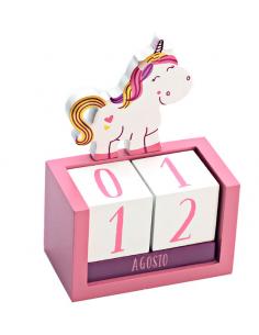 Calendario en madera perpetuo unicornio