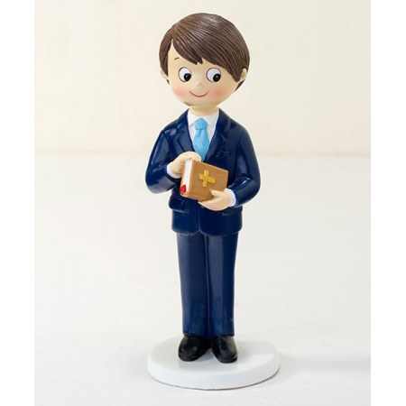 Muñeco para la tarta Primera Comunión niño traje azul marino
