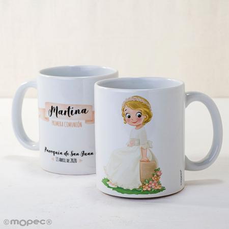Taza de porcelana de alta calidad decorada con una niña sentada en un banco