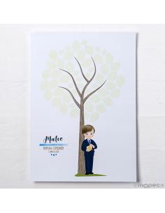 Árbol de huellas para comunión, niño con biblia