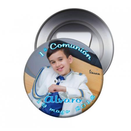 Imán con abrebotellas personalizado para la Primera Comunión