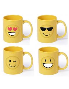 Taza mug smiles o emoticos, 4 modelos distintos