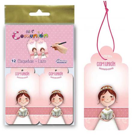 Pack 12 tarjetas colgantes para los detalles primera comunión niña con biblia.