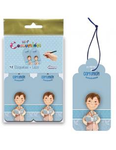 Pack 12 tarjetas colgantes para los detalles primera comunión niño con biblia