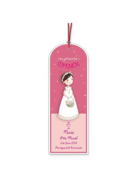 Punto de libro para comunión niña con cesta de flores y diadema