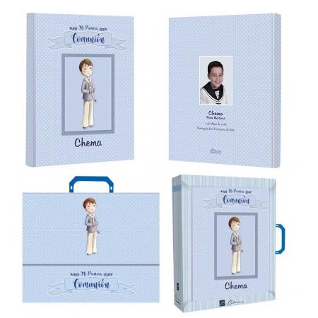 Libro de firmas para Comunión personalizado niño con rosario, libro con maletín