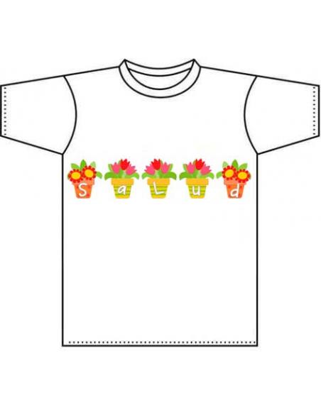 Camiseta infantil personalizada con el nombre, letras maceteros.