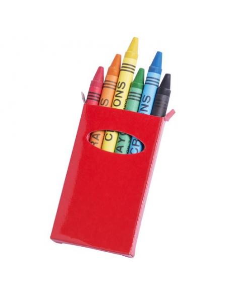 Caja de cartulina con 6 ceras, caja roja