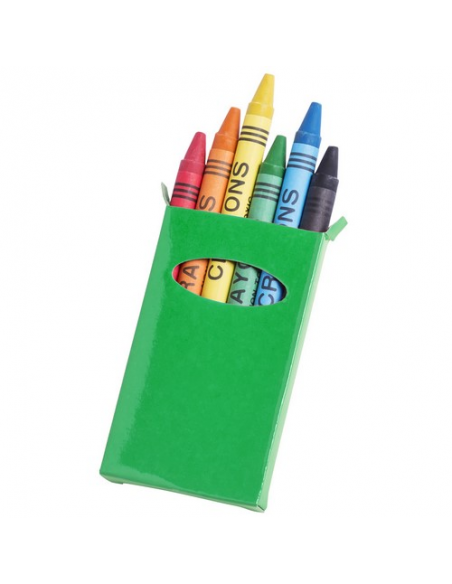 Caja de cartulina con 6 ceras, caja verde