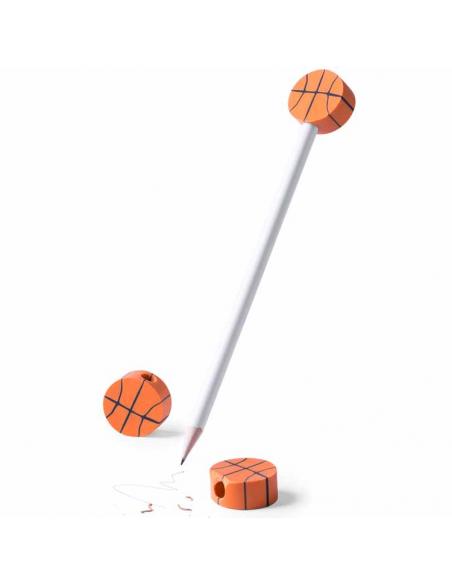 Lápiz de madera con gomas de borrar baloncesto