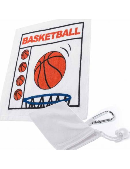 Toallas baloncesto prensadas en bolsa con mosqueton