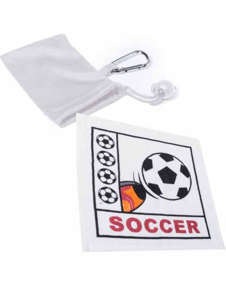 Toallas fútbol prensadas en bolsa con mosqueton