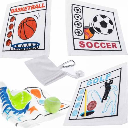 Toallas sport prensadas en bolsa con mosqueton