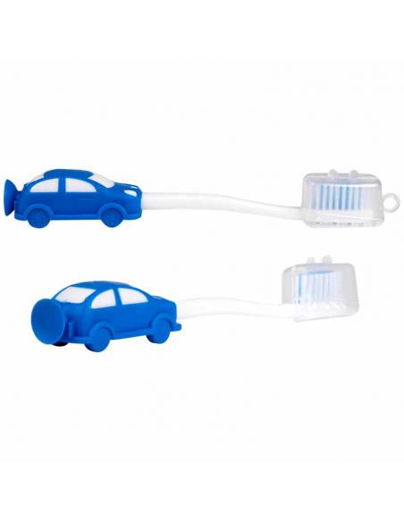 Cepillo de dientes infantil con ventosa coche azul