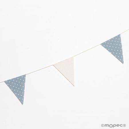 Banderines guirnalda decorativa en tela azul marfil con topos