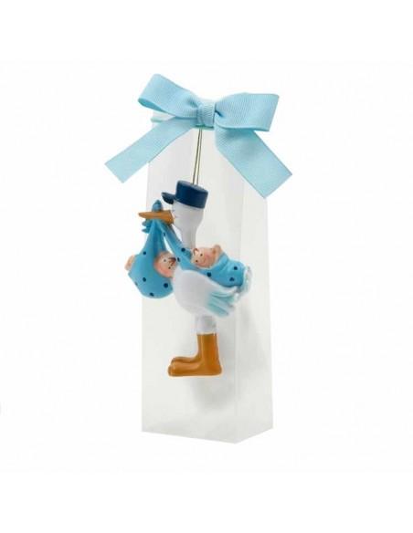 Imán cigüeña con gorrita, llevando a gemelos o mellizos,niño-niño en caja con peladillas