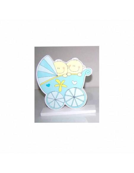 Figura para tarta o pastel gemelos en coche bebé