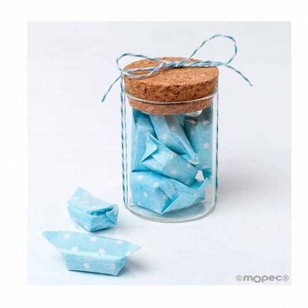 Tarrito de cristal con 5 caramelos topos en azul
