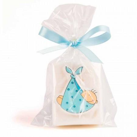 Jabones con sticker bebé en madera azul
